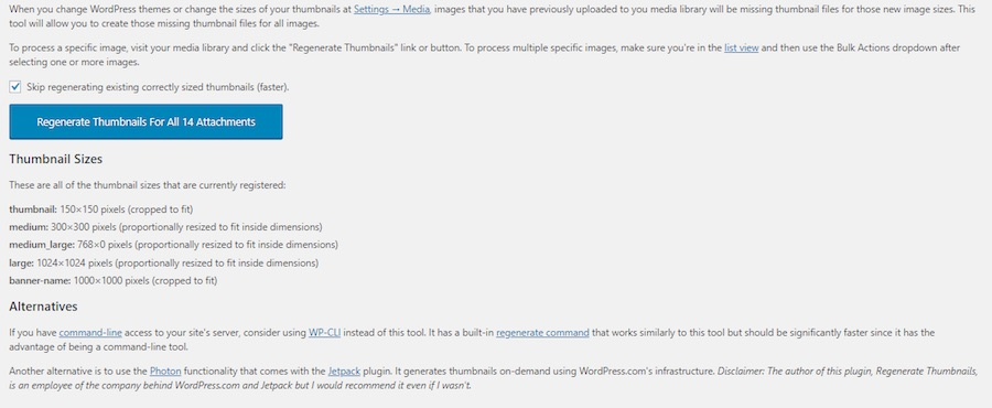 WordPress regenerate thumbnails plugin