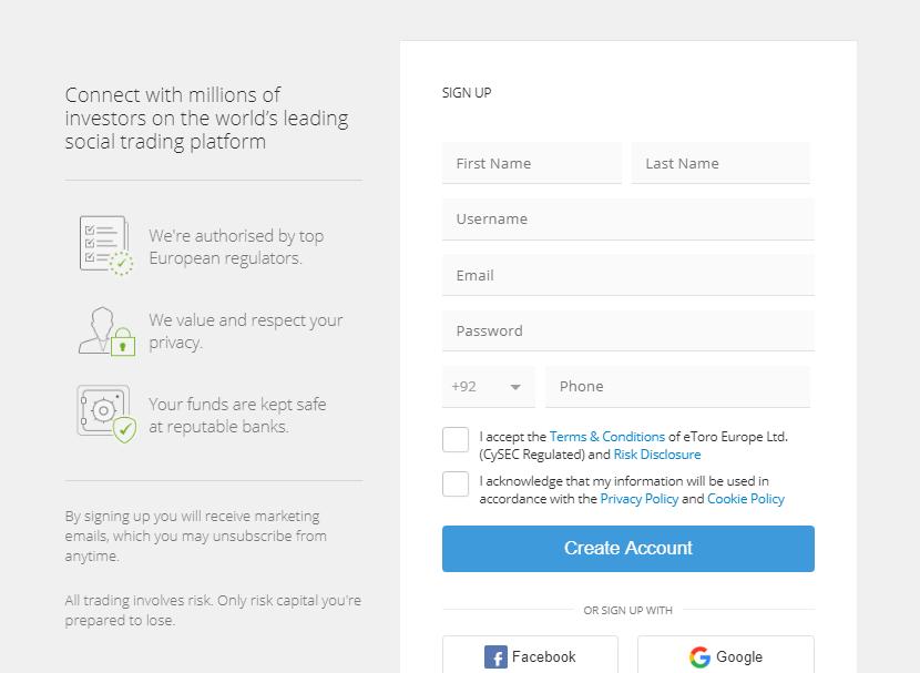 etoro step 1 create an account