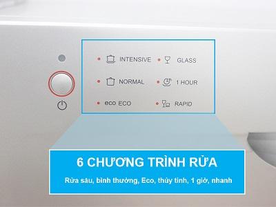 Máy rửa bát có 6 chương trình phù hợp từng loại bát, đĩa