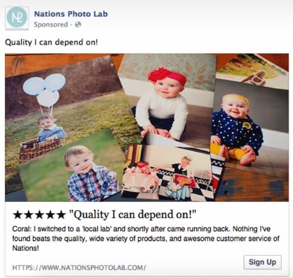Nations Photo Lab sử dụng đánh giá trong quảng cáo của họ như một bằng chứng xã hội - một chiến lược tiếp thị trả tiền cho mỗi nhấp chuột hiệu quả khác