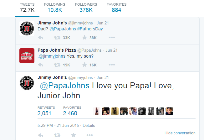 Papa/Jimmy John Twitter Exchange
