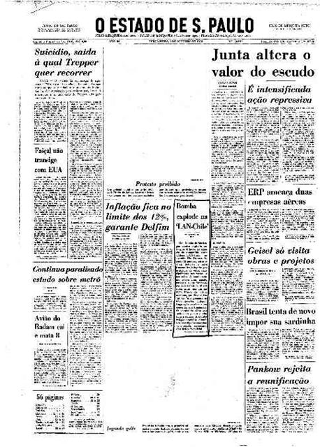 Capa do Jornal o Estado de S. Paulo com espaços em branco entre as notícias que indicam a censura sofrida pelo órgão da imprensa.