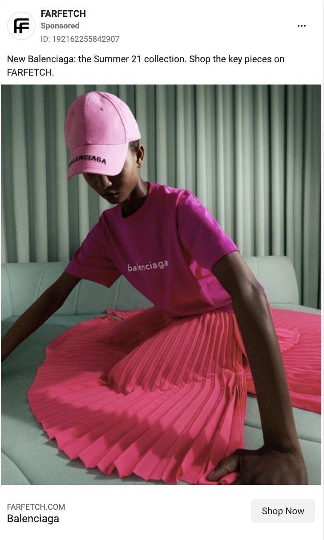 Luxury Fashion Farfetch Social Media Image Example