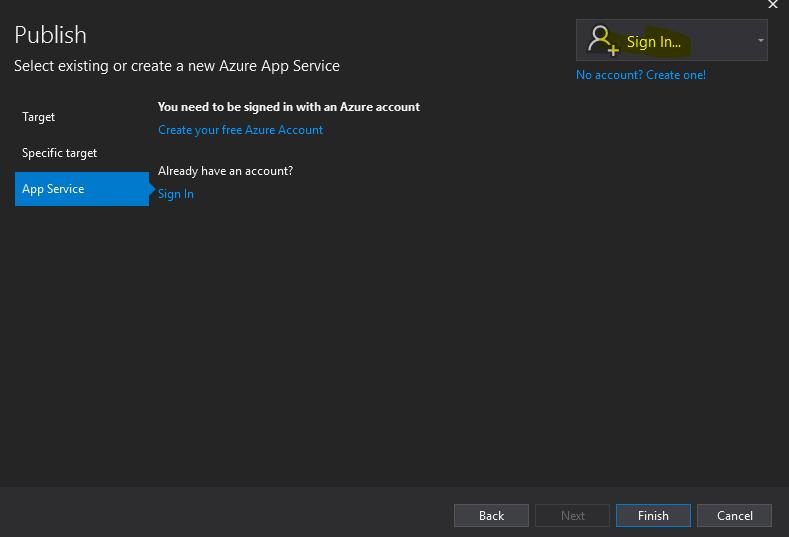Azure App Service:  Publish Asp.net Core Web App