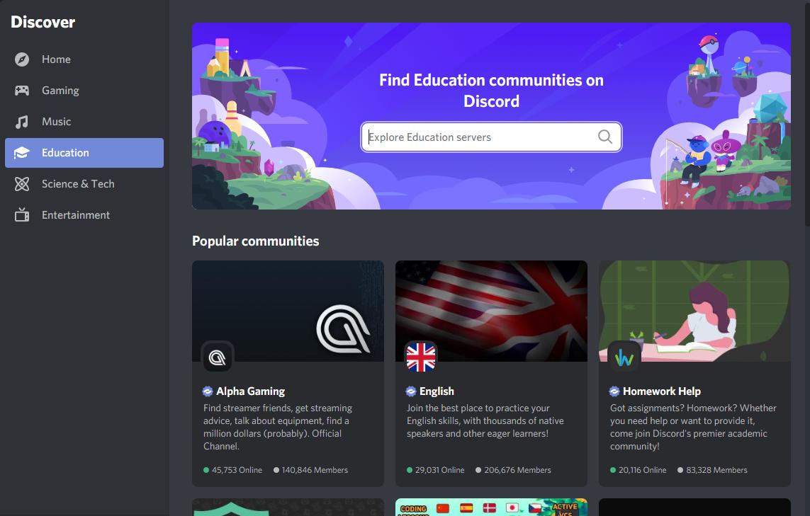 ゲーム以外にも様々なコミュニティが存在参考: Discord