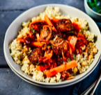 Spicy Meatball Tagine with Bulgur and Chickpeas