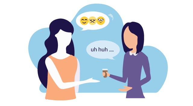 """Active listening involves reflecting - """"What you're saying is"""", Affirming - """"I see"""", and encouraging - """"And then?"""""""
