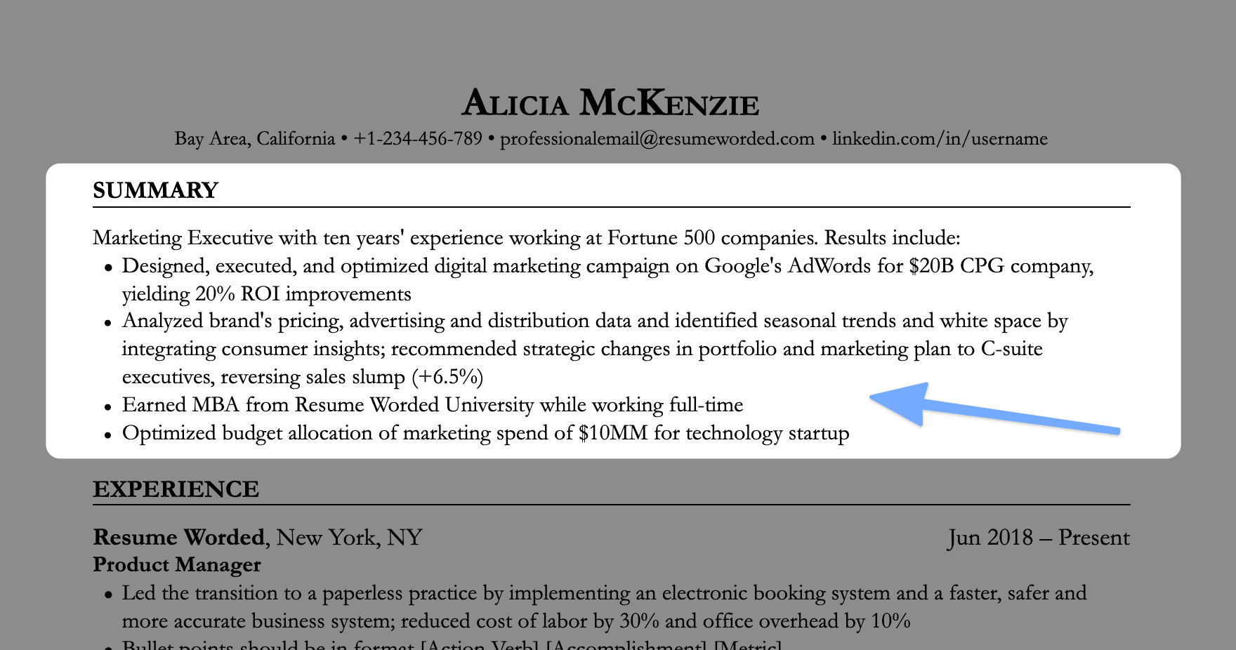 Use specific accomplishments and hard numbers in your resume's opening statement or summary