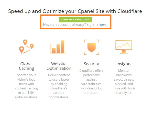 create or login to cloudflare account from cpanel