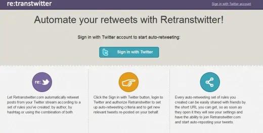 Retrans Twitter - auto retweet tools - TweetJumbo.com- twitter automation bot tool