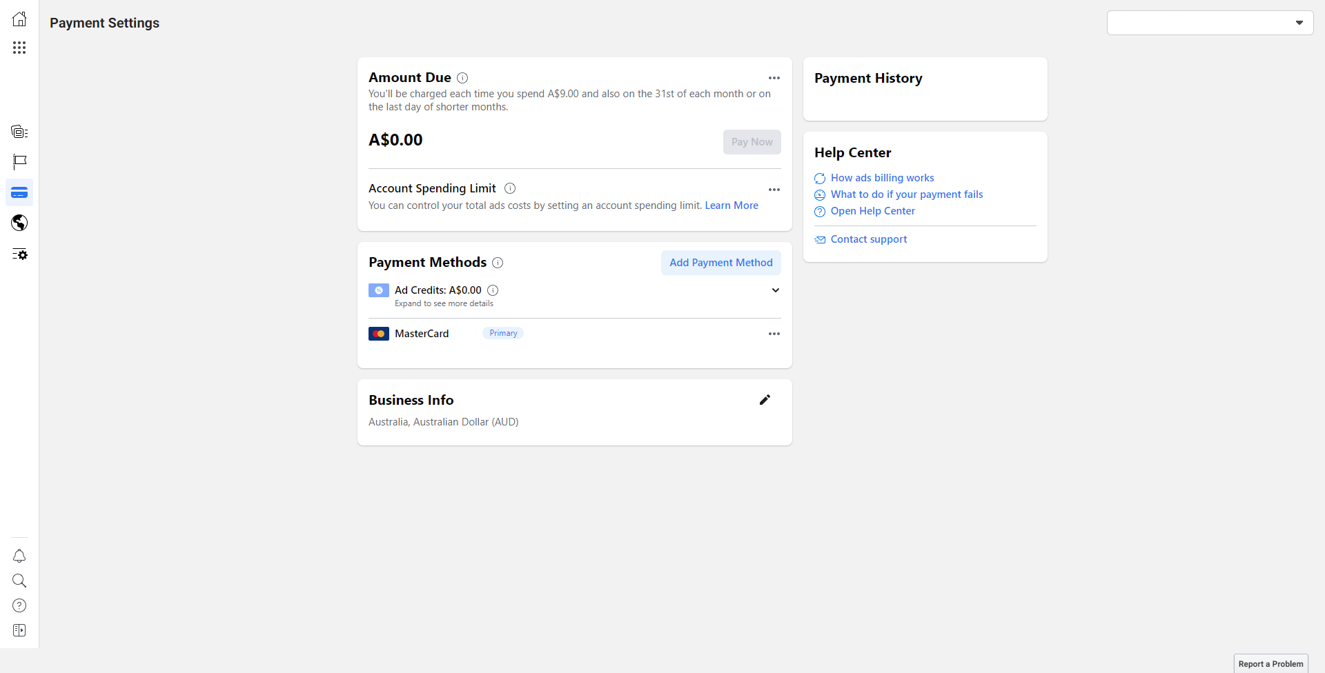 Payment Method for Facebook Business Manager