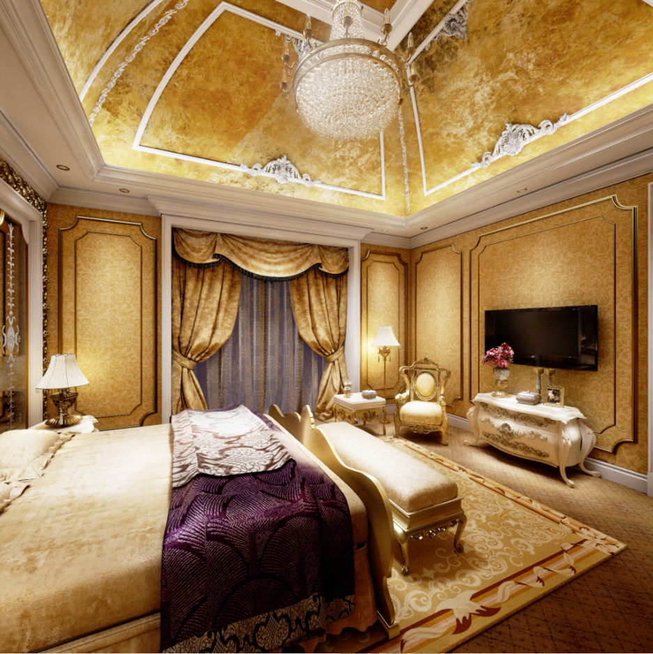 A Luxury Couples Bedroom with Gold Theme