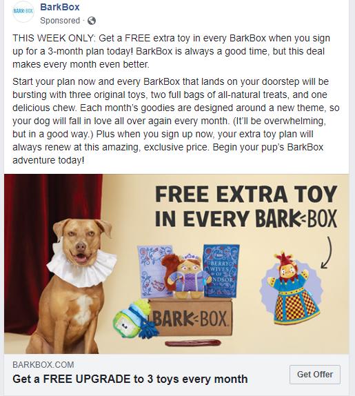 Facebook ad description example