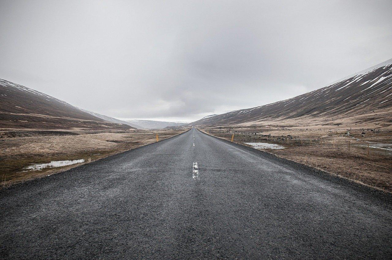 desolate road in gloomy weather