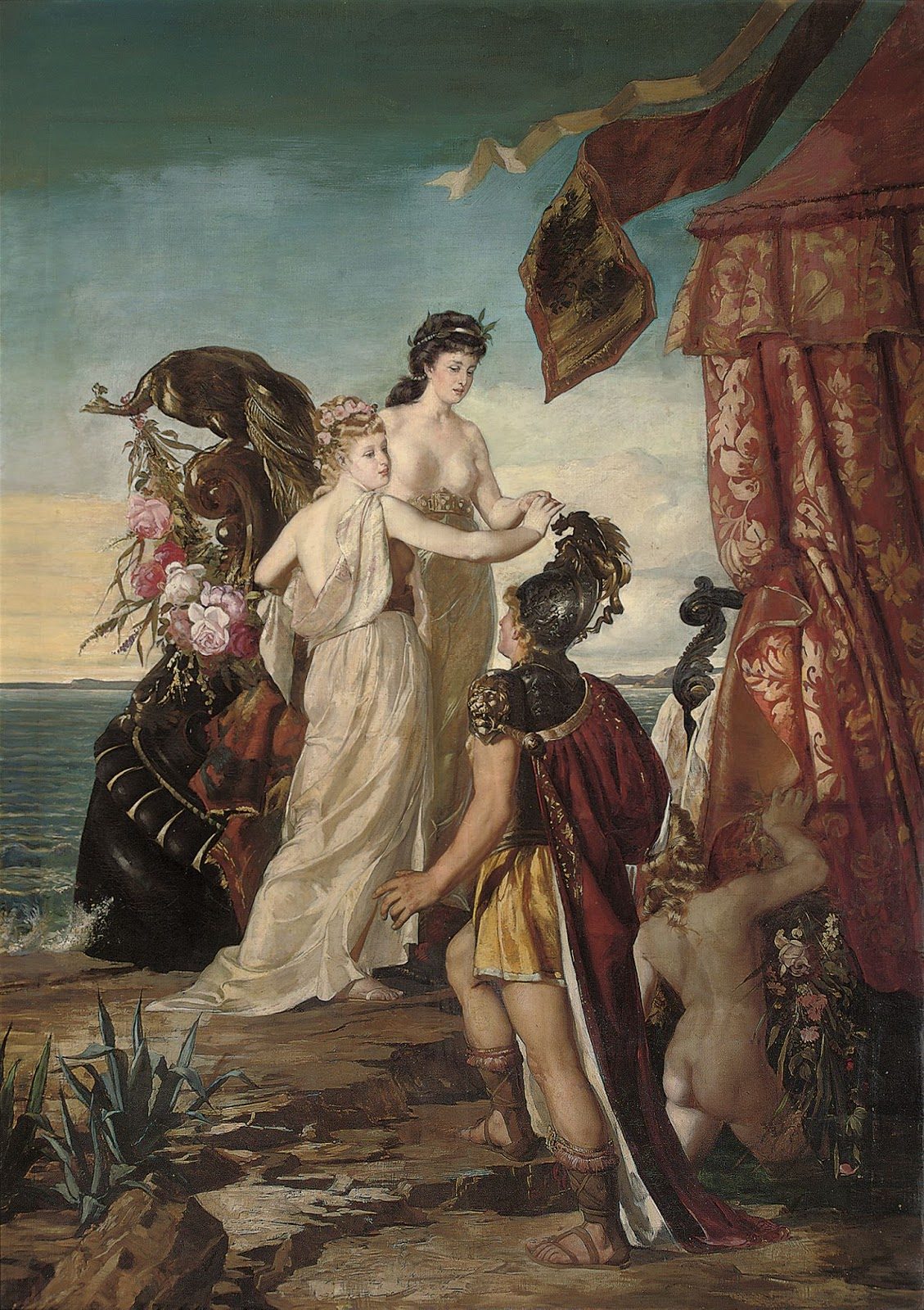 Tristan reaches Ireland where he meets Isolde for the first time. Mythical love stories: Tristan and Isolde, unknown artist of German School, 19th century, private collection