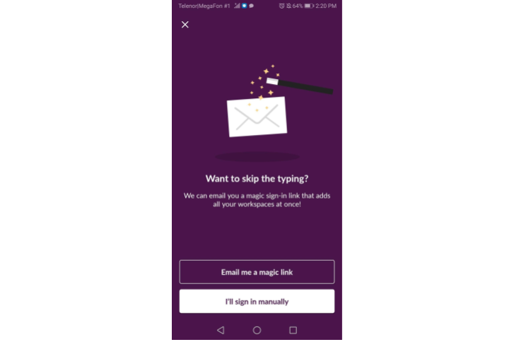 Slack App User Onboarding - Sign In with Email