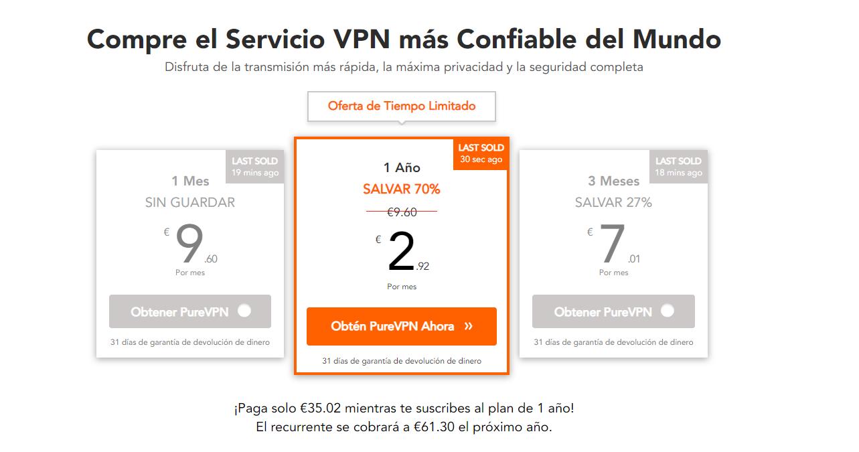 Pure VPN planes y precios