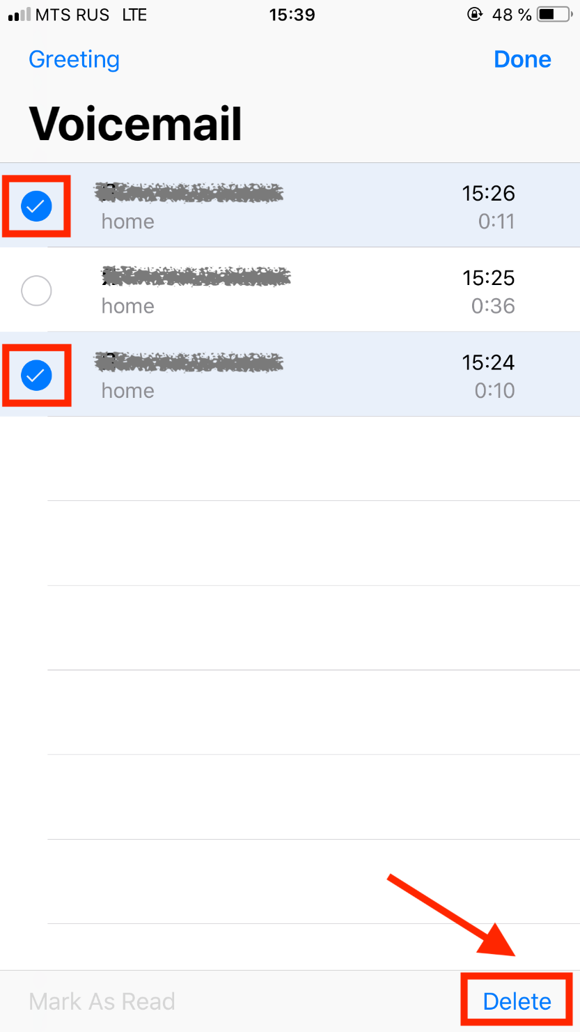 Select the messages you want to delete - Voicemail
