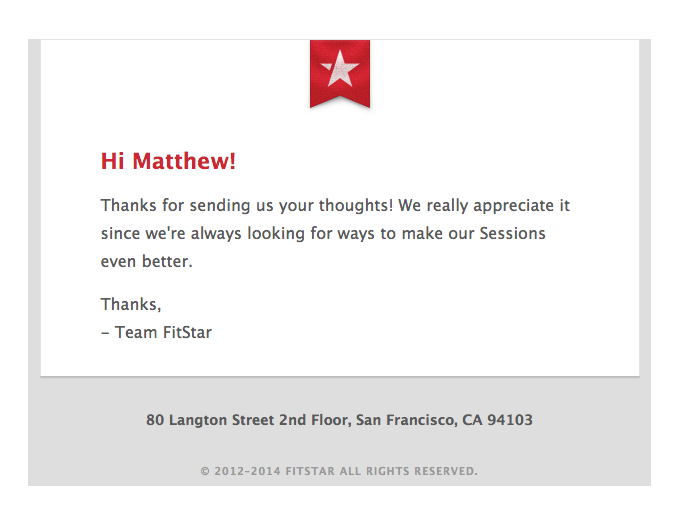 FitStar Thank you for feedback email sample