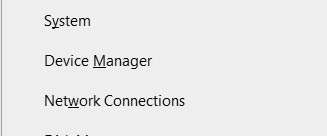 Device Manager option in Quick Link menu