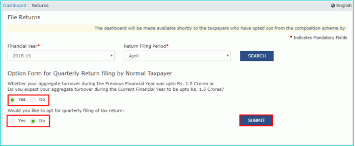 gstr1 non quarterly payment