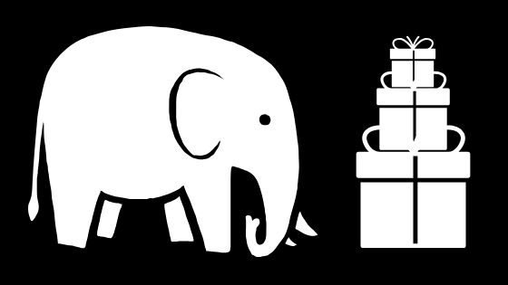 graphic of a white elephant and a stack of gifts on a black background