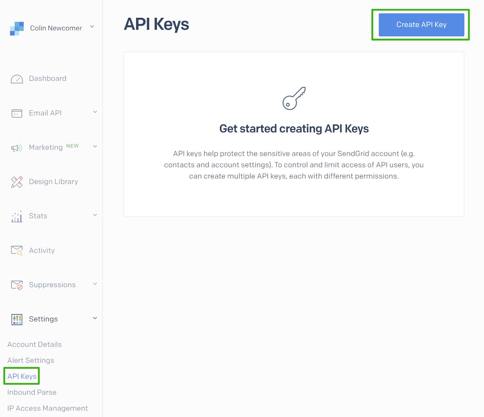 Screenshot of SendGrid's Create API Key page