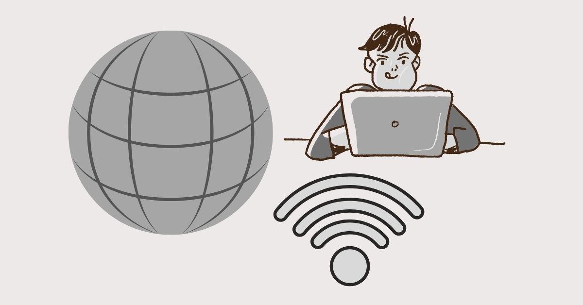 Man working on a laptop with a globe and wifi signs around him.