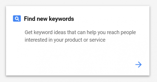 Ảnh chụp màn hình về cách tìm từ khóa mới với Keyword Planner