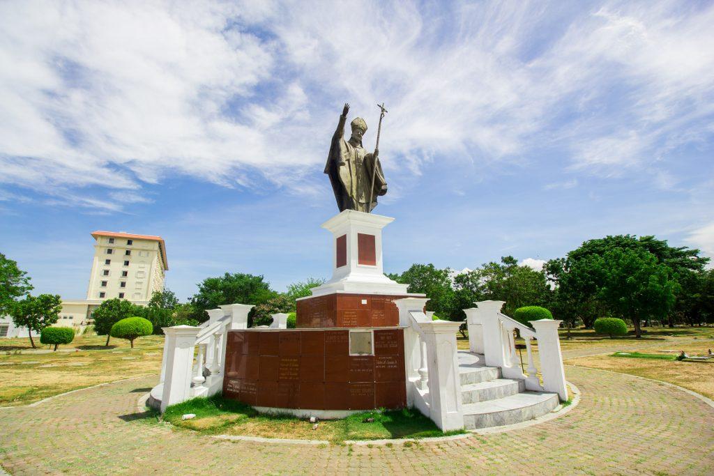 Statue of Pope John Paull II in Golden Haven Memorial Park - Las PInas