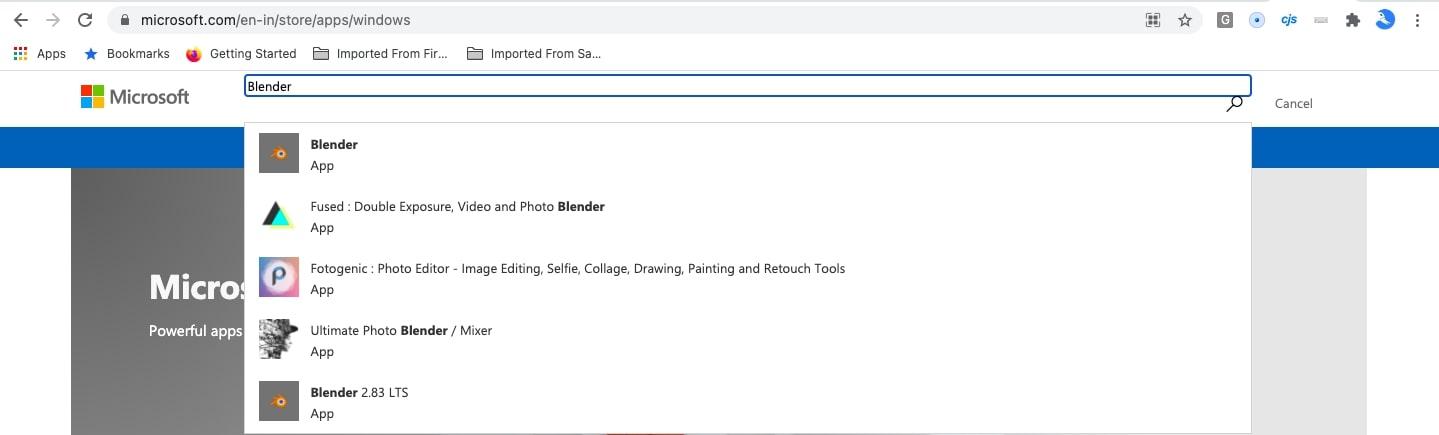 Blender update on MS Store