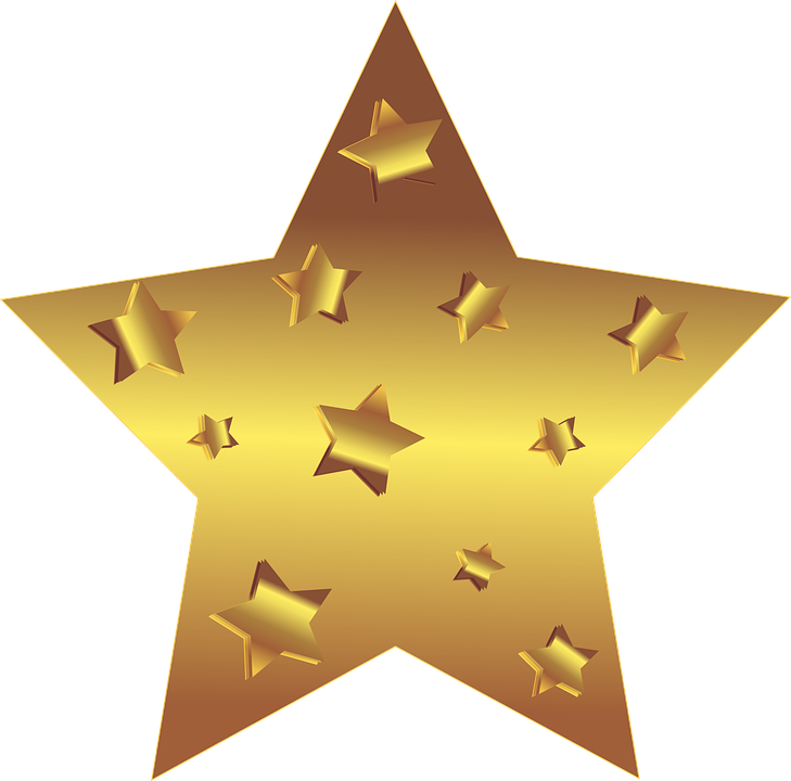 Big gold star, with smaller gold stars embedded in it
