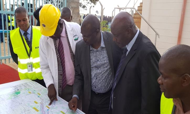 Inspection of the new Naiberi Water Treatment Plant in July 2018 by the Cabinet Secretary for Water and Sanitation Mr. Simon Chelugui