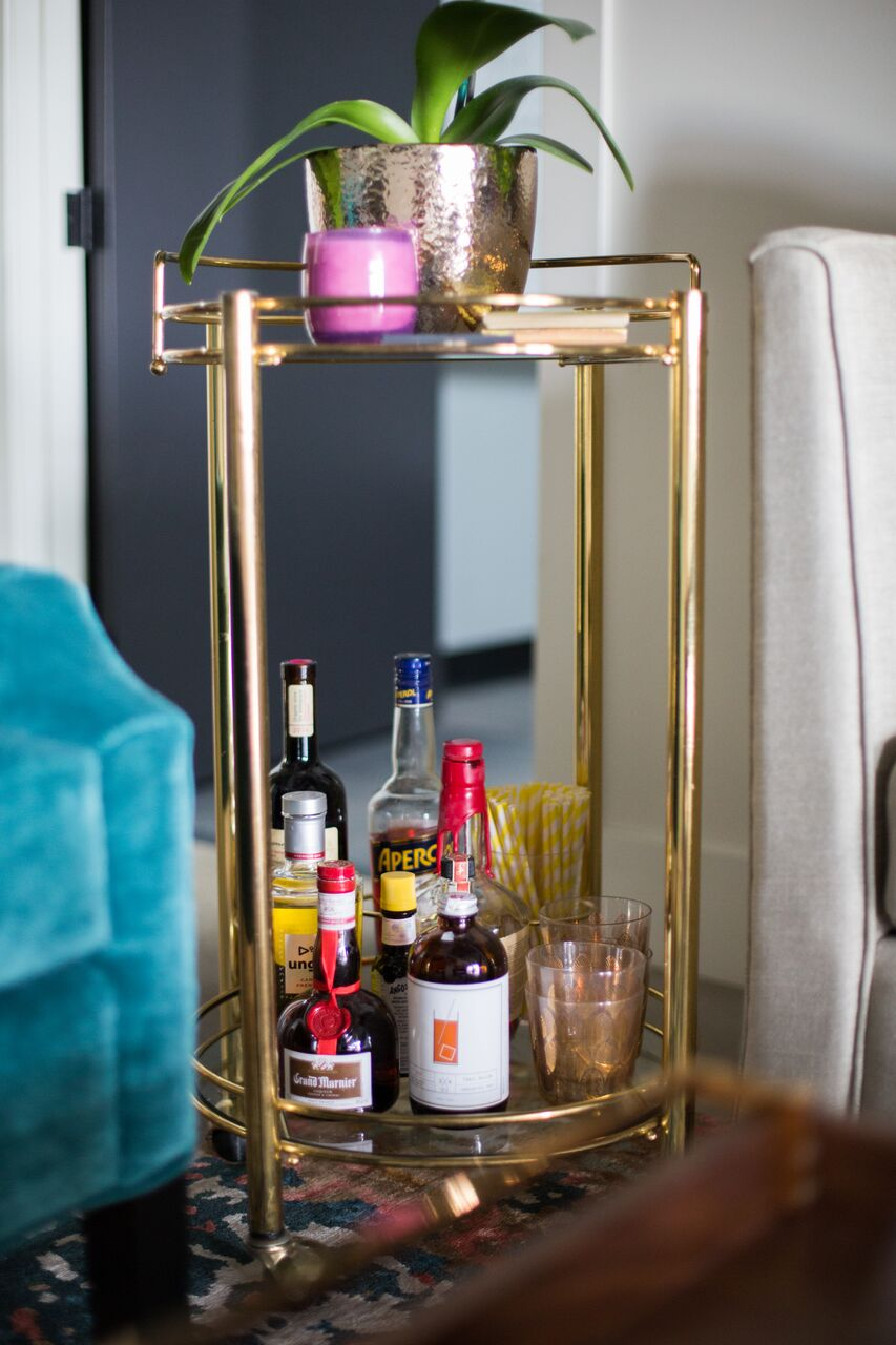 Calgary design community and office space launched by Leanne Bunnell Interiors - bar cart