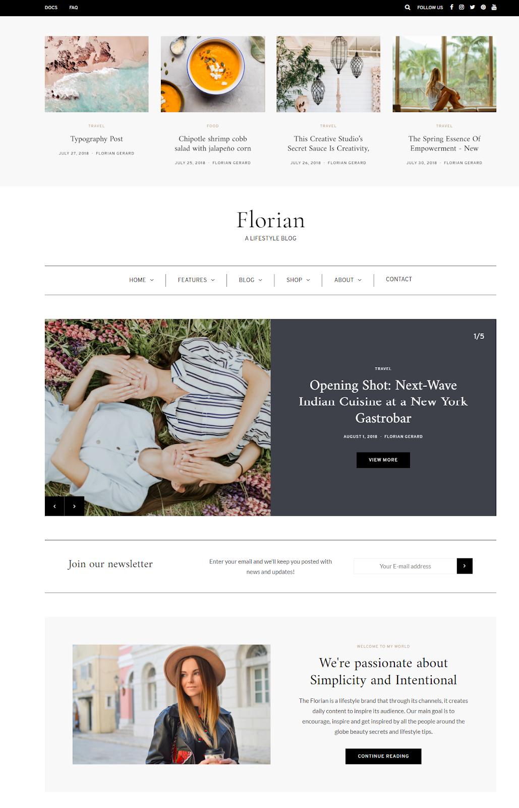 Best WordPress Instagram Theme Florian