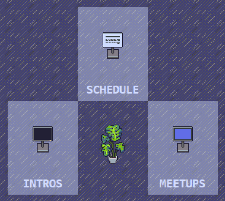schedule, meetups, and intros documents in the LingComm21 Gather space: kiosks arranged in a triangle, each of which links to an electronic document, with a plant in the center