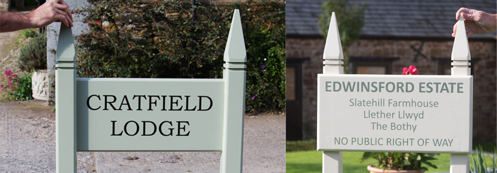 The Gothic post top adds a luxurious finish to an entrance sign, made here at The Sign Maker.