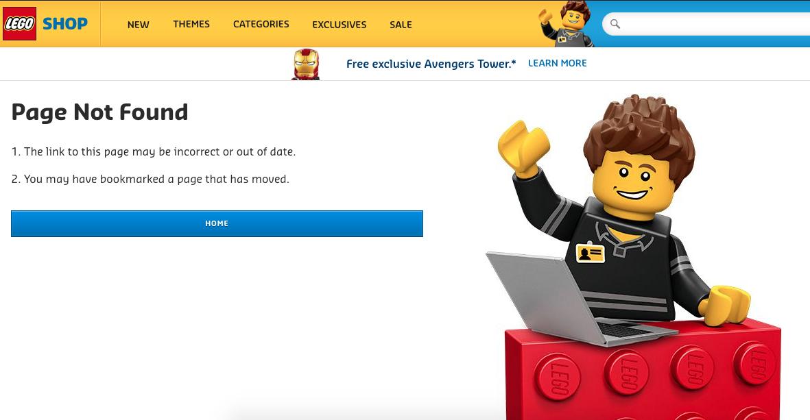 Ejemplo de error 404: Lego