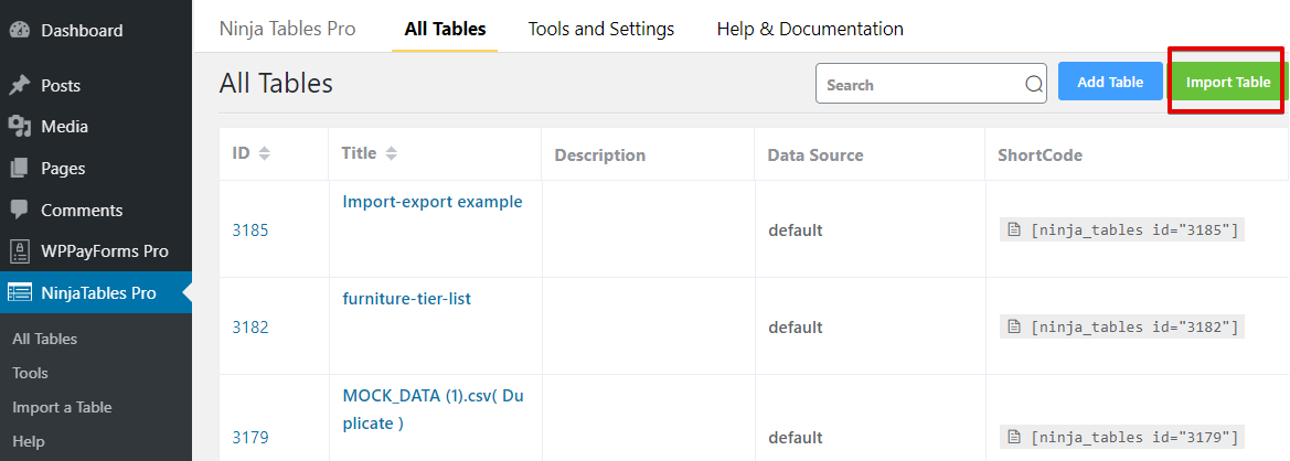 How to use a table plugin to create a data table with imported files