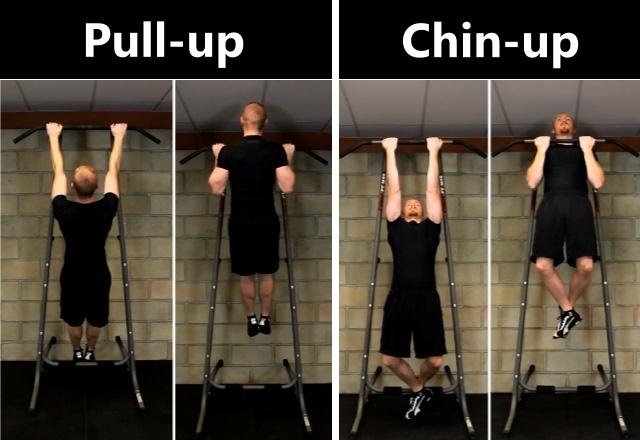 Sự phân biệt giữ hai động tác này nằm ở chỗ cách bạn nắm lấy thanh xà khi bắt đầu luyện tập