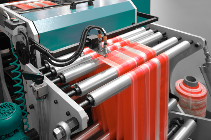 flexo printing defects - press with red material