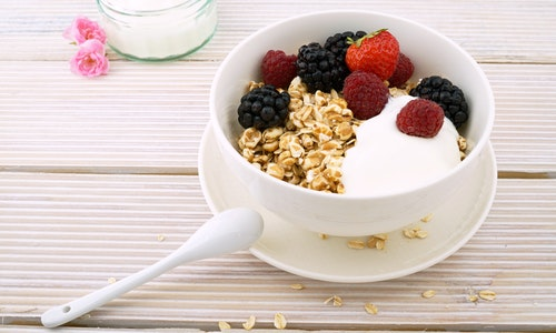 A light meal of yogurt and fruit is the perfect light Italian breakfast.