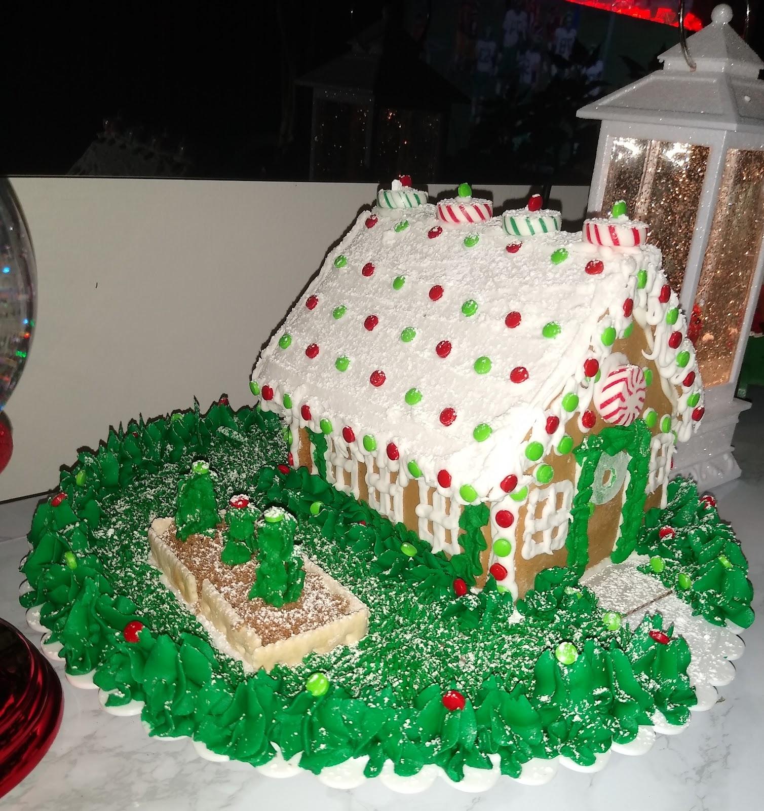 gingerbread house with a buttercream garden