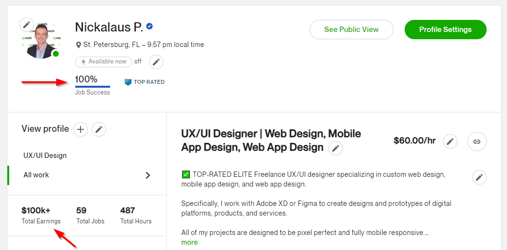 Screenshot of my upwork profile so you know that I know how to write Upwork proposals that get you hired.