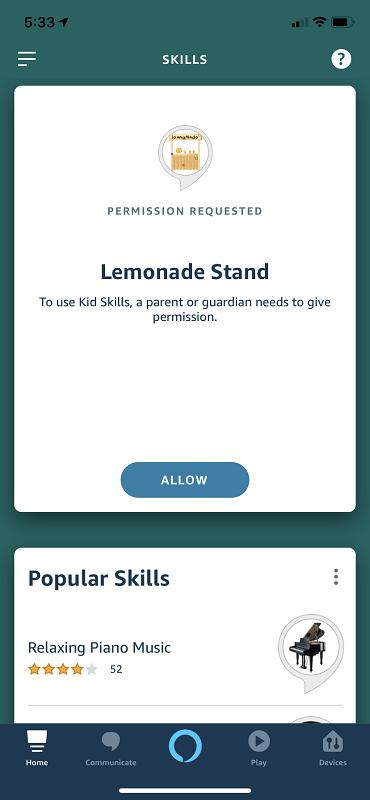 Kid Skills Permission Screenshot
