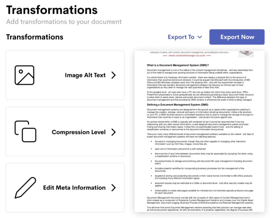 The Transformations page within the Wordable plugin for WordPress.
