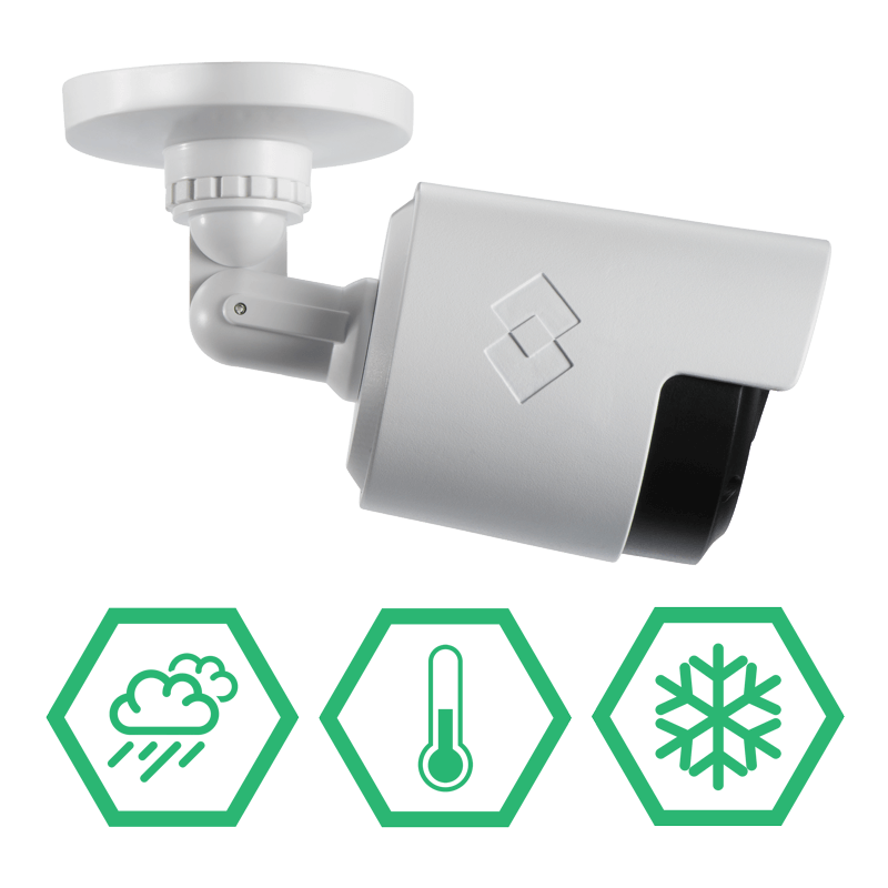 IP66 weatherproof security cameras with lightweight and durable polycarbonate housings