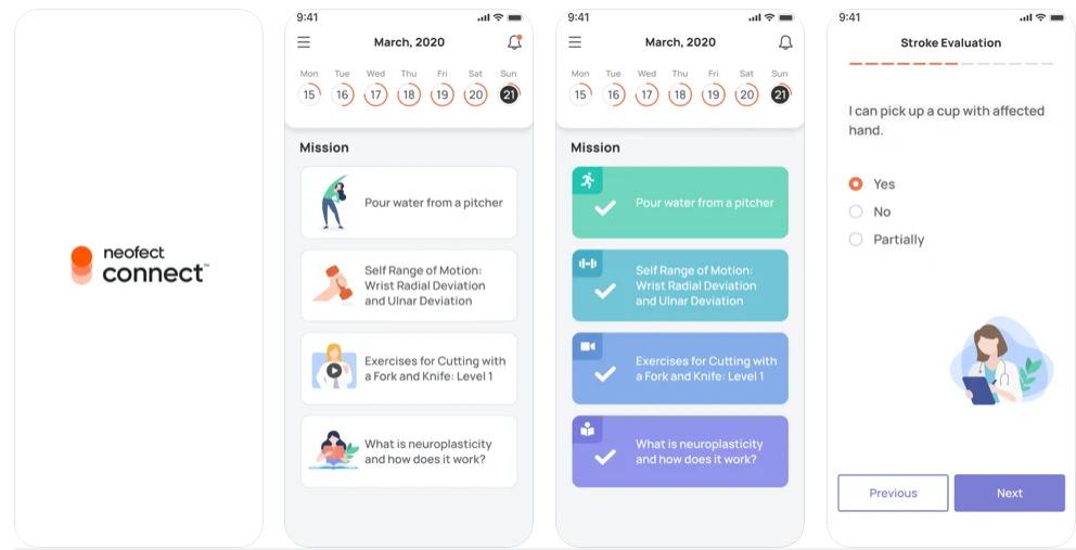 holistic wellness app for stroke survivors, Neofect connect
