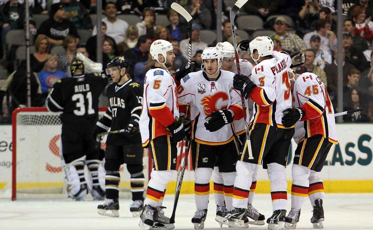 Calgary Flames celebrates win against the Dallas Stars.