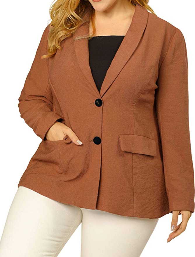 Agnes Orinda Women's Plus Size Blazer Shawl Collar Open Front Work Casual Blazers